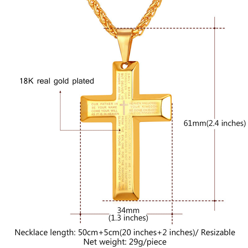 Lord's Praying Cross Men's Necklace - Nice & Cool