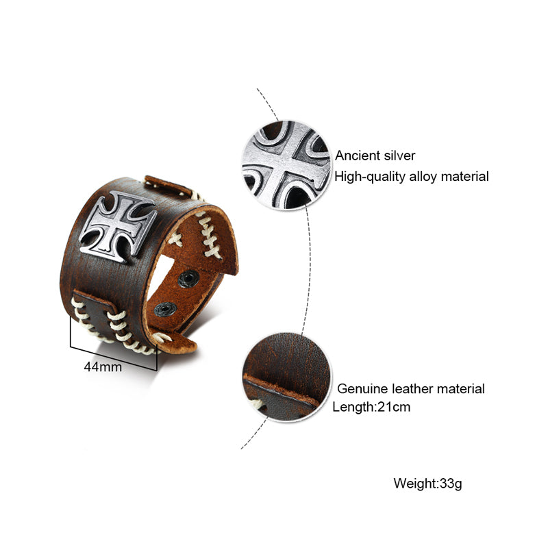 Maltese Cross with Stitching Genuine Leather Wristband Men's Bracelet - Nice & Cool