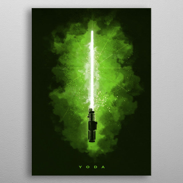Yoda Lightsaber Print On Metal - Nice & Cool