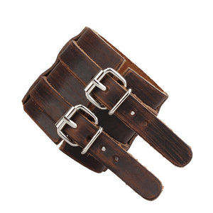 Double Buckle and Rivets Genuine Leather Wristband Men's Bracelet - Nice & Cool