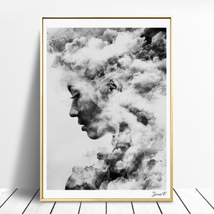 Woman Profile in the Clouds Wall Art Canvas - Nice & Cool