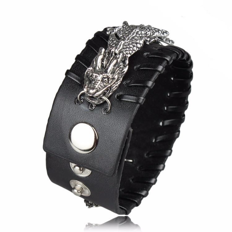 Metal Dragon Genuine Leather Wristband Men's Bracelet - Nice & Cool