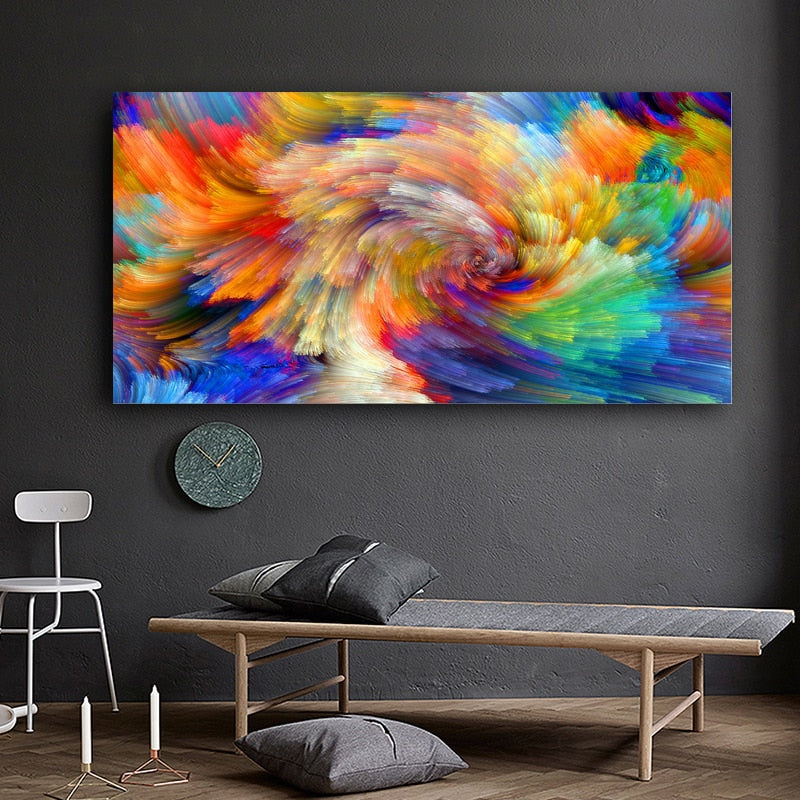 Splashed Rainbow Wall Art Canvas - Nice & Cool