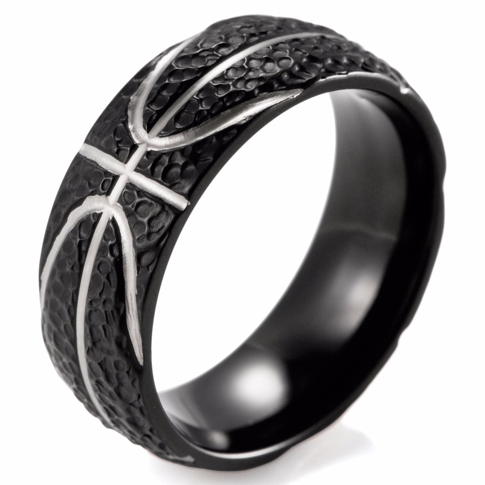 Basketball Inspired Black Titanium Men's Ring - Nice & Cool