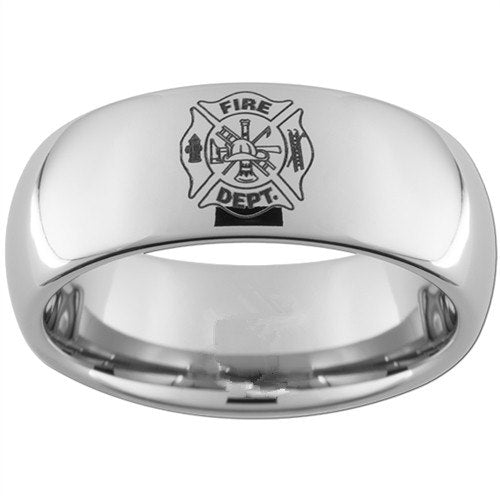Classic Tungsten Firefighter Shield Design Men's Ring - Nice & Cool