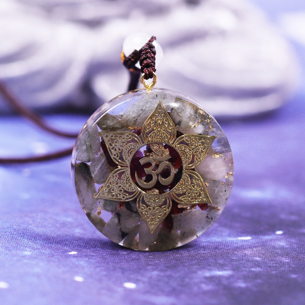 Orgonite With Crystals And OM & Lotus Flower Necklace
