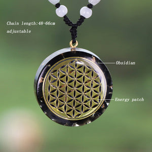 Orgonite With Obsidian And Flower Of Life Necklace