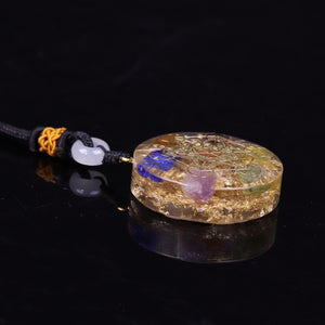 Orgonite With Multiple Crystals And The Metatron's Cube Necklace