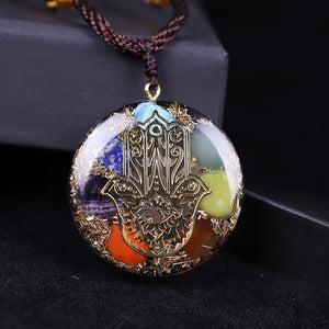 Orgonite With Multiple Crystals And Hand Of Fatima (Hamsa) Necklace