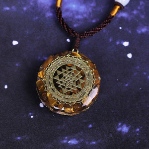 Orgonite With Tiger Eye and Sri Yantra Necklace