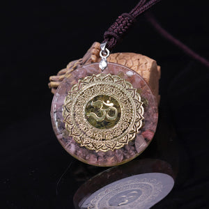 Orgonite With Rose Quartz And OM Symbol Necklace