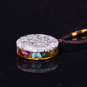 Orgonite With Multiple Crystals And Pachamamma Symbol Necklace