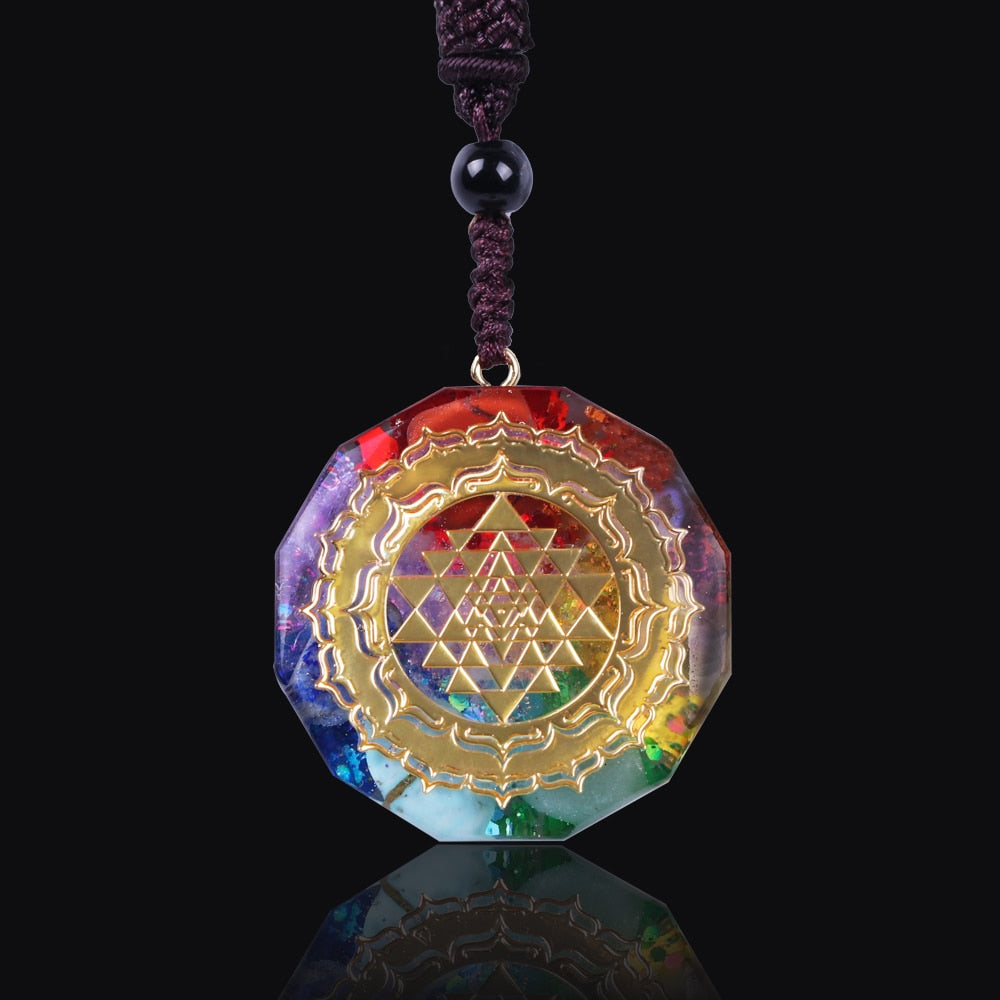 Orgonite With Multiple Crystals And Sri Yantra Necklace
