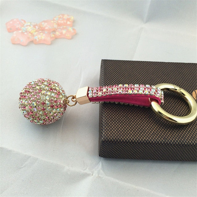 Fancy Rhinestones Crystal Ball with Leather Strap Keychain / Handbag Pendant - Nice & Cool