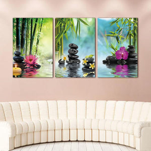 Bamboo, Water & Flowers Wall Art Modular Canvas - Nice & Cool