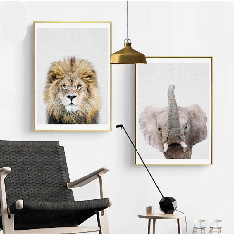Lion & Elephant Portraits Wall Art Canvas - Nice & Cool