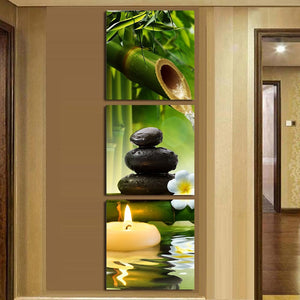 Bamboo, Candle & Stones Wall Art Modular Canvas - Nice & Cool