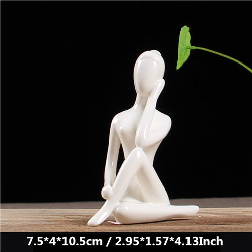Yoga and Meditation White Ceramic Figurines - 12 poses - Nice & Cool
