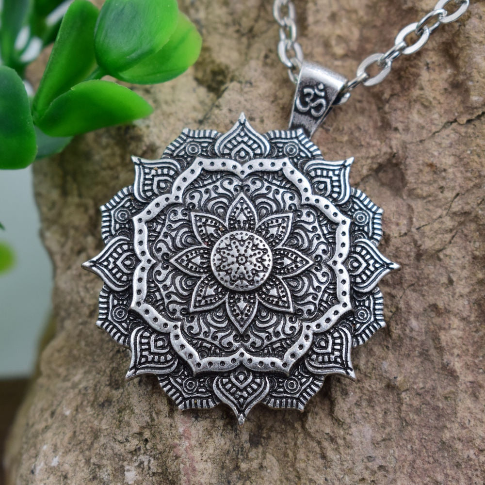 Om & Flower of Life Mandala Pendant Necklace - Nice & Cool