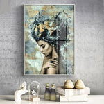 Modern Abstract Woman Profile Wall Art Canvas - Nice & Cool