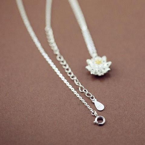 Lotus Flower Silver Necklace (Pendant & Chain) - Nice & Cool