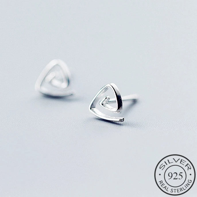 Triangle Spiral Silver Stud Earrings - Nice & Cool