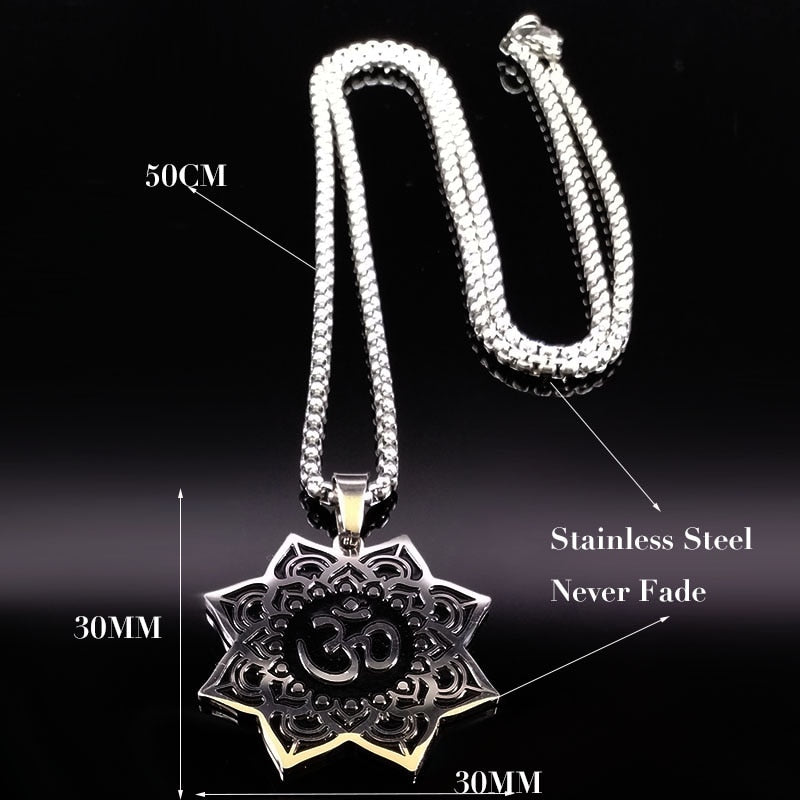 Om & Lotus Flower Stainless Steel Necklace - Nice & Cool