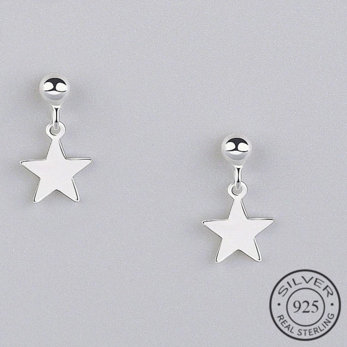 Star Drop Silver Earrings - Nice & Cool