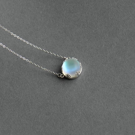 Halo Crystal Gemstone Pendant Silver Necklace - Nice & Cool
