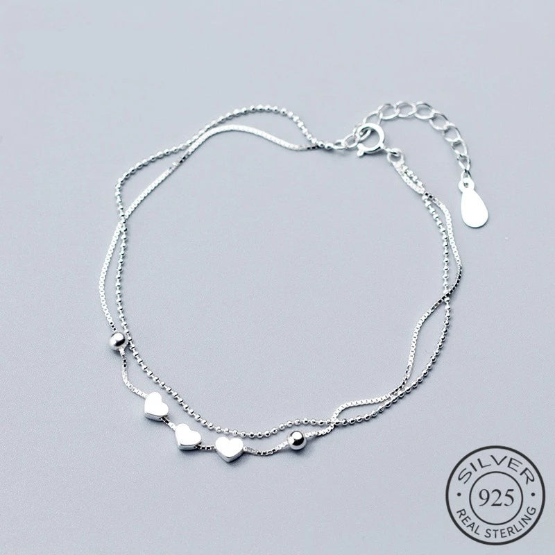 Beads & Hearts Double Chain Silver Bracelet - Nice & Cool