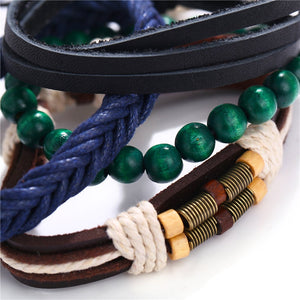 Multilayer Braided Leather, Rope, Beads and Metal Handmade Men's Bracelet (4 patterns) - Nice & Cool