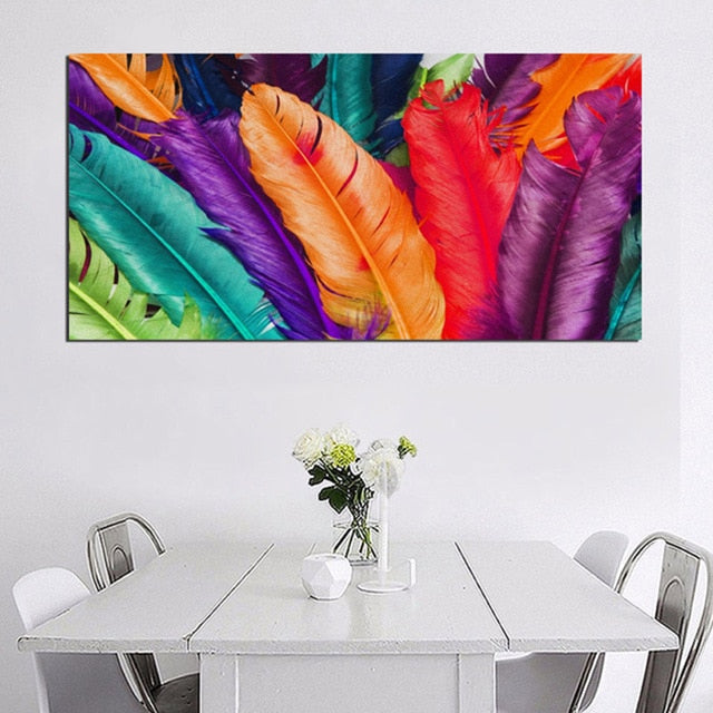 Feathers' Colors Wall Art Canvas (5 variants) - Nice & Cool
