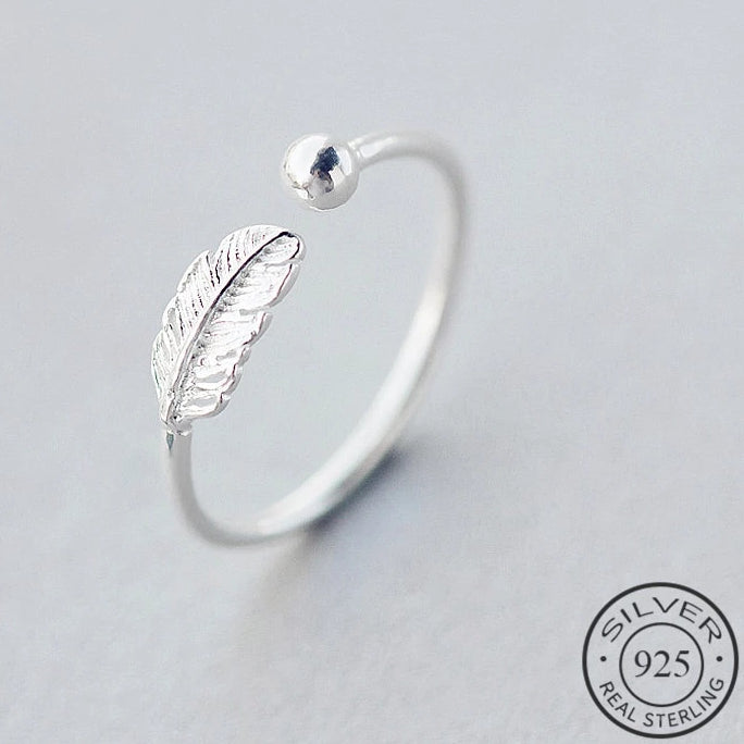 Feather Adjustable Silver Ring - Nice & Cool
