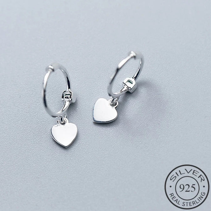 Heart Drop Silver Earrings - Nice & Cool