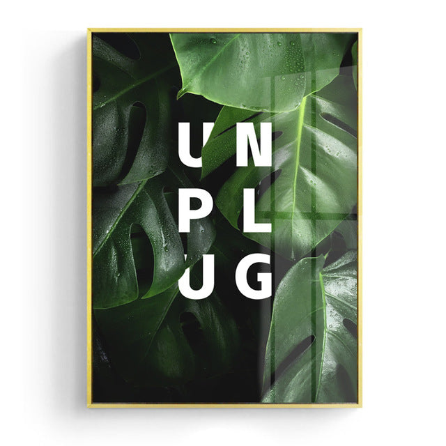 G and UNPLUG on Green Leaves Wall Art Canvas - Nice & Cool