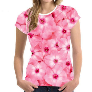 Pink Flowers 3D Printed Women's T-Shirt - Nice & Cool