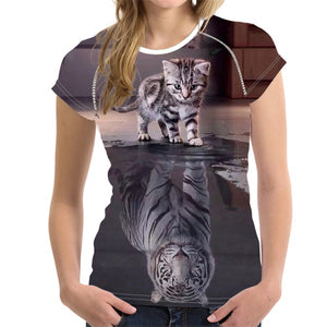 Little Tiger Printed Women's T-Shirt - Nice & Cool