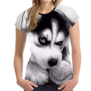 Naughty Husky Puppy Printed Women's T-shirt - Nice & Cool