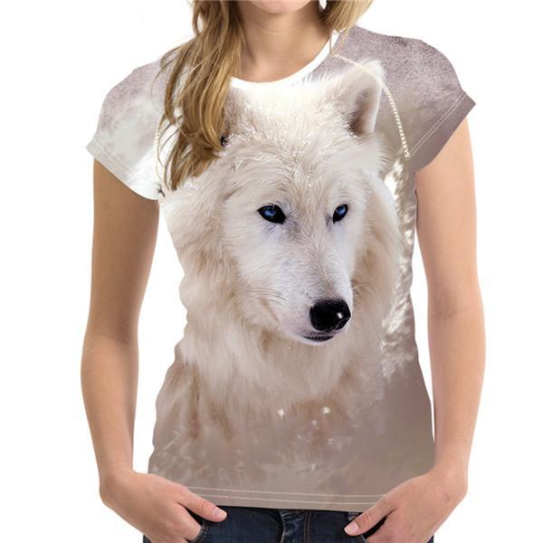 White Wolf Printed Women's T-shirt - Nice & Cool