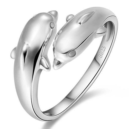 Dolphin Duo Silver Plated Ring - Nice & Cool