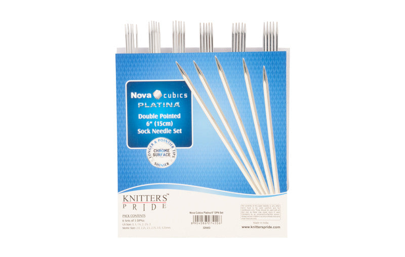 "Knitter's Pride - Nova Cubics Platina - 6"" Double Pointed Needle Set - 320453"