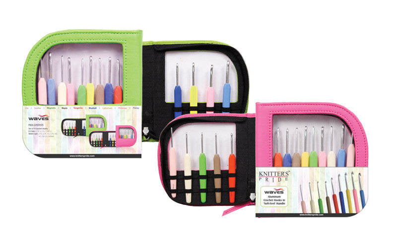 Knitter's Pride - Waves - Crochet Hook Set (Single Ended) in Neon Green Faux Leather Bag - 600331