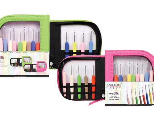 Knitter's Pride - Waves - Crochet Hook Set (Single Ended) in Neon Pink Faux Leather Bag