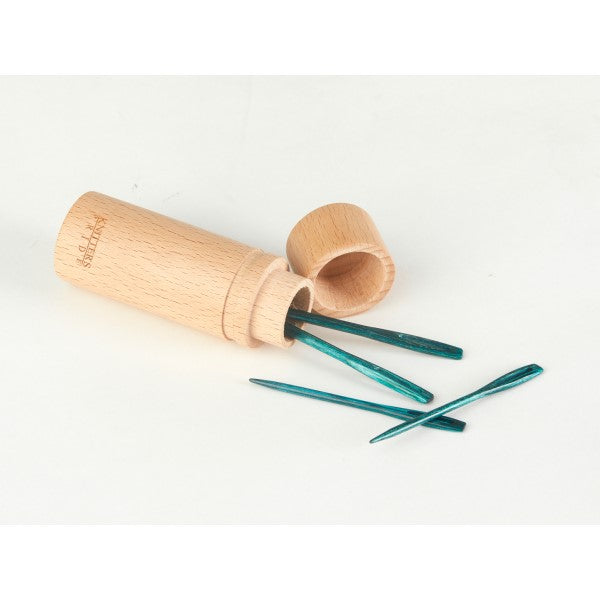 Knitter's Pride - Mindful - Teal Wooden Darning Needles in Beech Wood Container