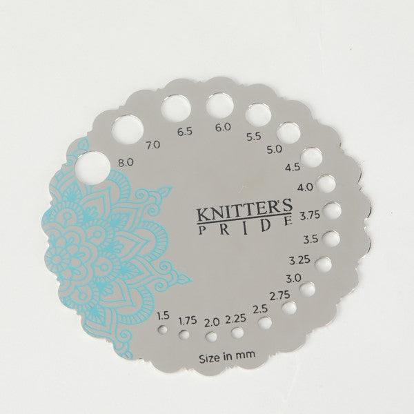 Knitter's Pride - Mindful - Sterling Silver Plated Metal Needle Gauge