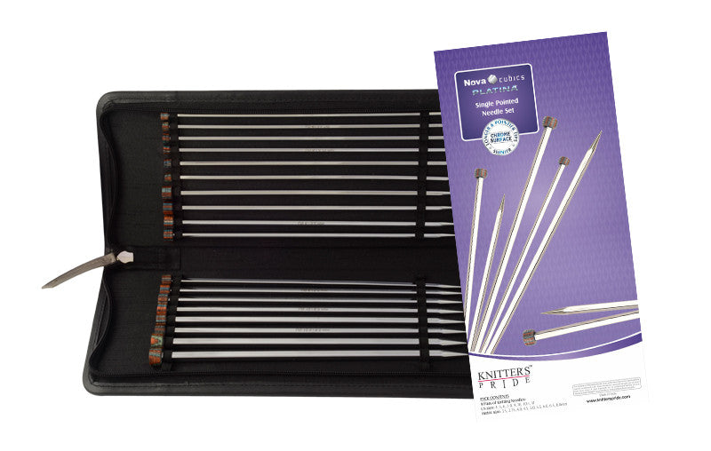"Knitter's Pride - Nova Cubics Platina -  10"" Single Point Needle Set"