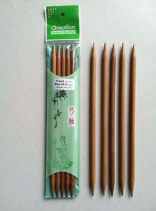"ChiaoGoo - Dark Bamboo - 6"" Double Point - 1036"