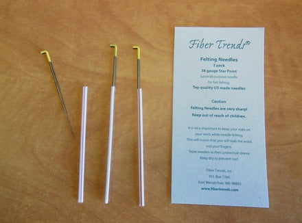Fiber Trends - Felting Needles - 38G Star Point - 3 Pack - Yellow