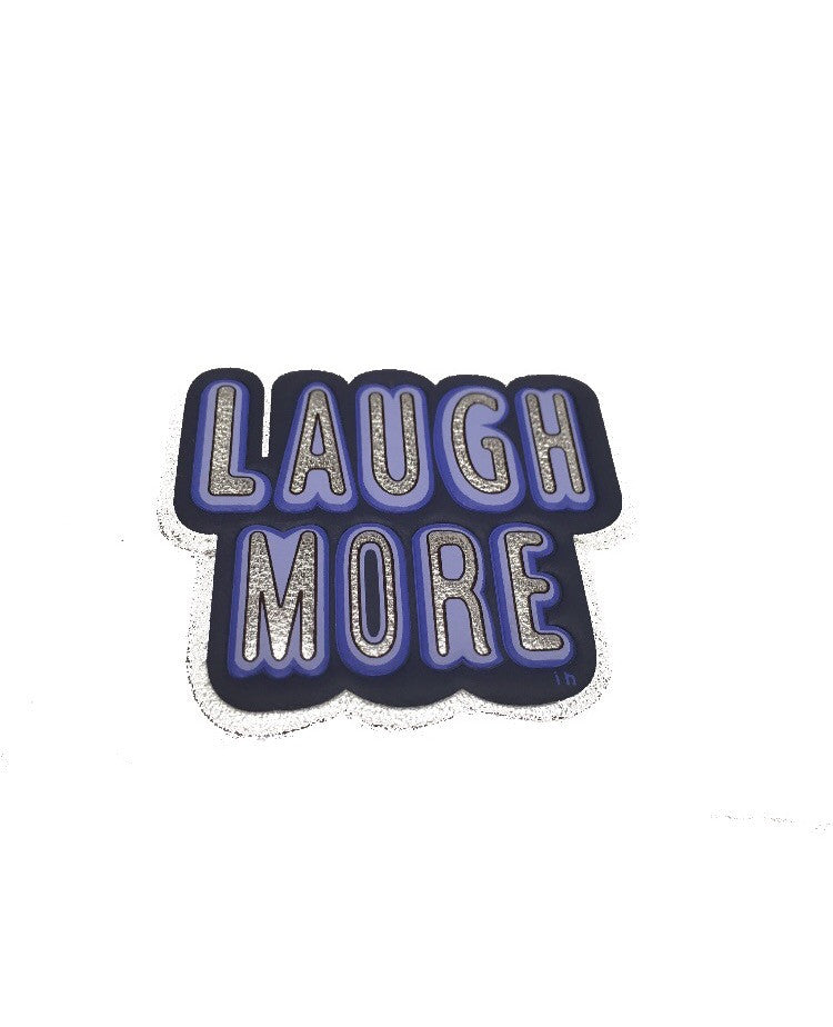Laugh More goatskin leather sticker