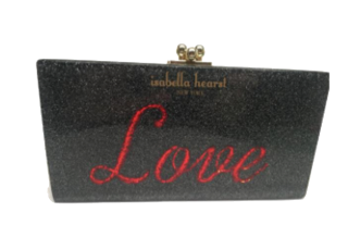 Love acrylic sparkly clutch